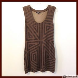 EXPRESS Brown Bodycon Dress Sequins Sheer Back